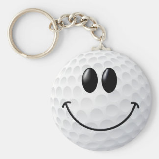 Golf Ball Smiley Face Key Chains