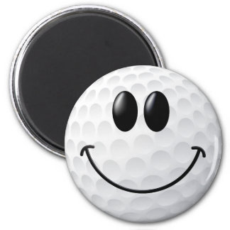 Golf Ball Smiley Face 2 Inch Round Magnet