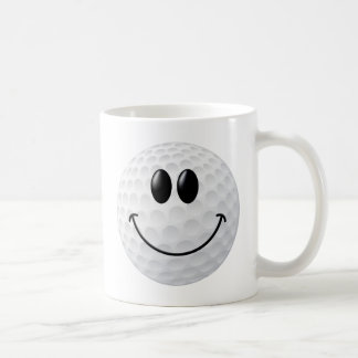 Golf Ball Smiley Face Classic White Coffee Mug