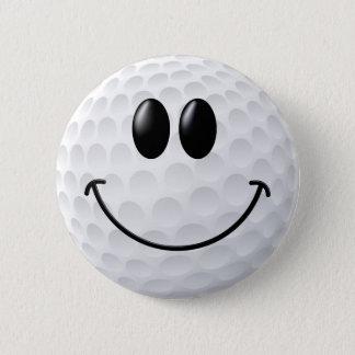 Golf Ball Smiley Face Pinback Button