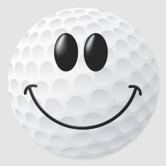 Golf Ball Smiley Face Round Stickers