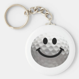 Golf ball smiley keychain