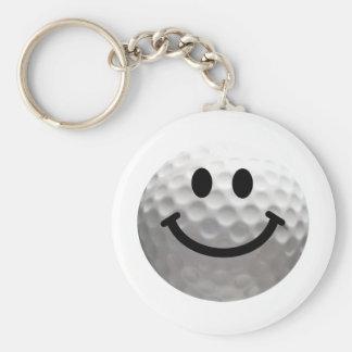 Golf ball smiley key chain