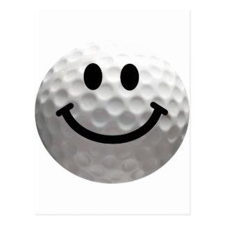 Golf ball smiley postcard