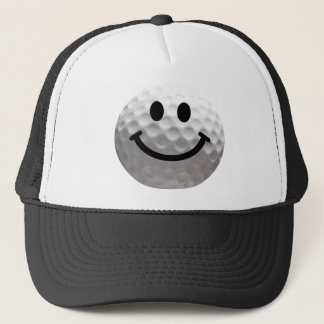 Golf ball smiley trucker hat