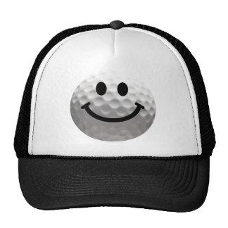 Golf ball smiley trucker hat