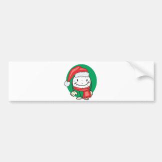 Golf ball smiley wearing santa christmas hat bumper sticker