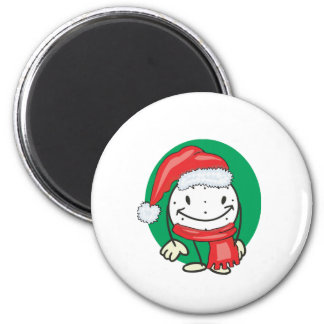 Golf ball smiley wearing santa christmas hat fridge magnet