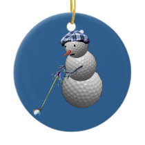 Golf Ball Snowman Ceramic Ornament