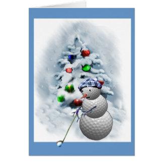 Golf Ball Snowman Christmas Card