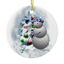 Golf Ball Snowman Christmas Ceramic Ornament