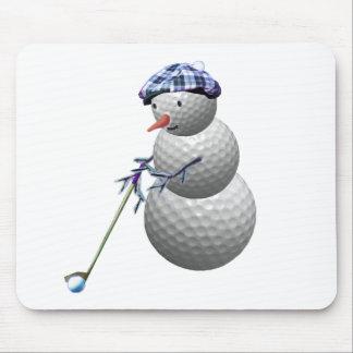 Golf Ball Snowman Christmas Mouse Pad
