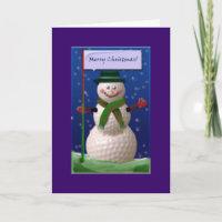 Golf Ball Snowman for the Golf Nut Holiday Card