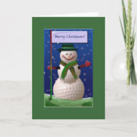 Golf Ball Snowman for the Golf Nut Holiday Card