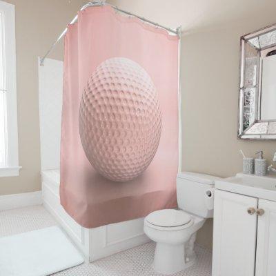Golf Ball Sport Pink Shower Curtain