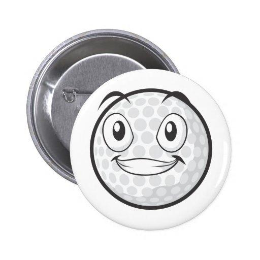 Golf Ball Sticker  Happy Golf Ball Cartoon Sticker Pin