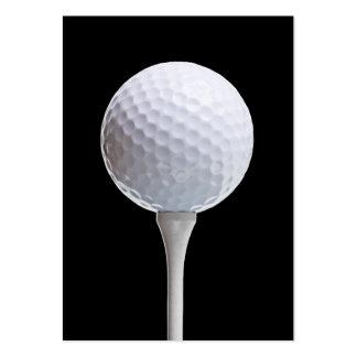 Golf Ball & Tee on Black - Customized Template Business Card Template