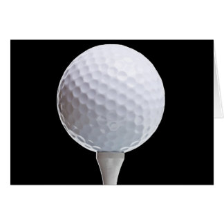 Golf Ball & Tee on Black - Customized Template Greeting Card