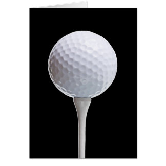 Golf Ball & Tee on Black - Customized Template Cards