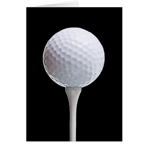 Golf Ball & Tee on Black - Customized Template Stationery Note Card
