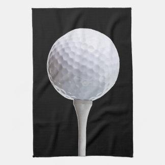 Golf Ball & Tee on Black - Customized Template Kitchen Towel