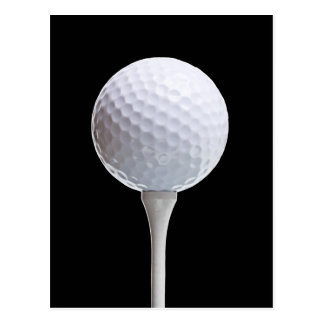 Golf Ball & Tee on Black - Customized Template Postcards