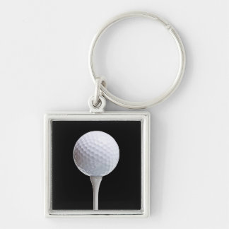 Golf Ball & Tee on Black - Customized Template Silver-Colored Square Keychain