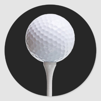 Golf Ball Tee on Black - Customized Template Round Stickers