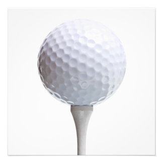 Golf Ball & Tee on White Customized Template Custom Invitation