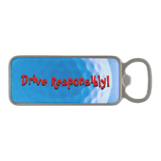 Golf Ball Texture Arctic Blue_Drive Responsibly Magnetic Bottle Opener