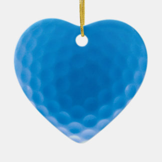 Golf Ball Texture Dimples Arctic Blue Double-Sided Heart Ceramic Christmas Ornament