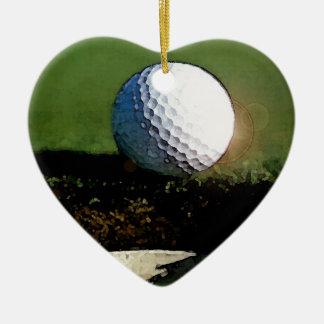 Golf Ball & the Hole Double-Sided Heart Ceramic Christmas Ornament