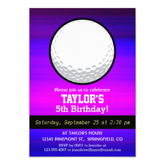 Golf Ball; Vibrant Violet Blue and Magenta Card