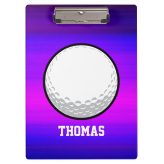 Golf Ball; Vibrant Violet Blue and Magenta Clipboard