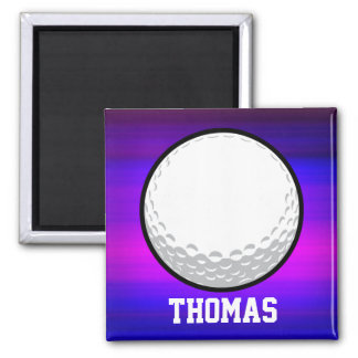 Golf Ball; Vibrant Violet Blue and Magenta 2 Inch Square Magnet