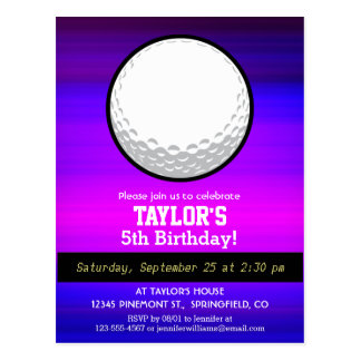 Golf Ball; Vibrant Violet Blue and Magenta Postcard