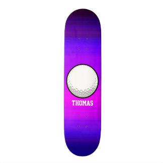 Golf Ball; Vibrant Violet Blue and Magenta Skateboard Deck