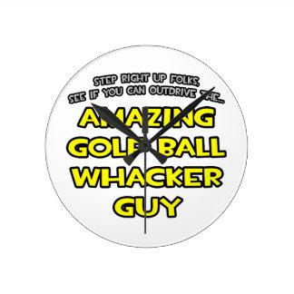 Golf Ball Whacker Guy Round Clock