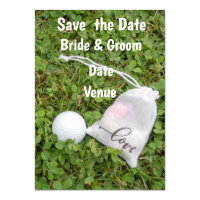 Golf ball with bag of love save the date invitation