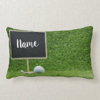 Golf ball with blank chalkboard on green grass lumbar pillow