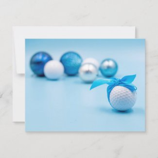Golf ball with blue  ribbon on blue background