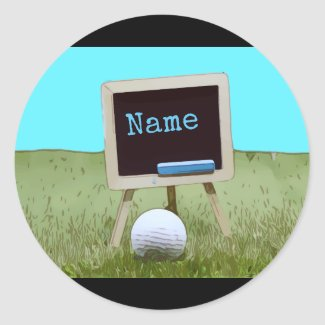 Golf ball with chalk board on green graphic Golf Classic Round Sticker