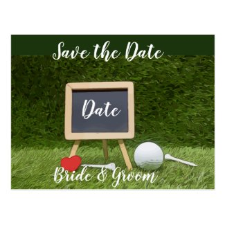 Golf ball with chalkboard save the date postcard