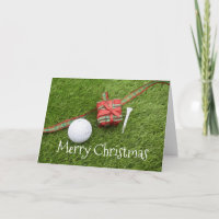 Golf ball with Christmas gift to golfer card