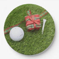Golf ball with Christmas gift to golfer Paper Plate