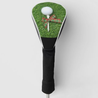 Golf ball with Christmas Holiday ribbon on green Golf Head Cover