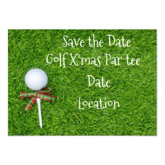Golf ball with Christmas Holiday tee are on green Invitation