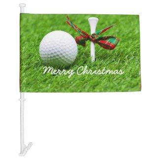 Golf ball with Christmas ribbon and tee Christmas Car Flag