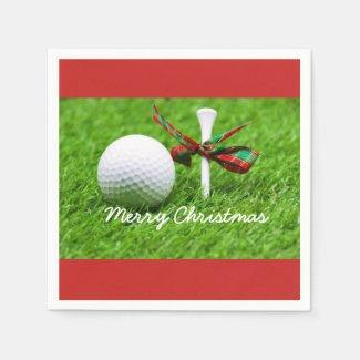 Golf ball with Christmas ribbon and tee Napkins