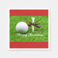 Golf ball with Christmas ribbon and tee Napkins